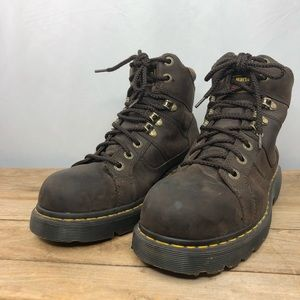 Dr. Martens steel toe slip & water resistant leather work boots, 10